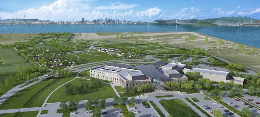 U.S. Department of Veterans Affairs (VA) plans for outpatient clinic, medical and benefits offices, and a national cemetery at Alameda Point. San Francisco in background.